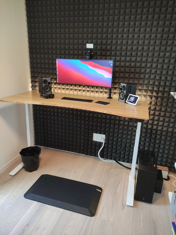 Home office setup with standing pad