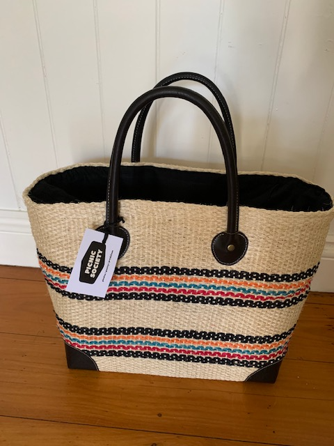 French Picnic Basket - Sisal Multi Stripe