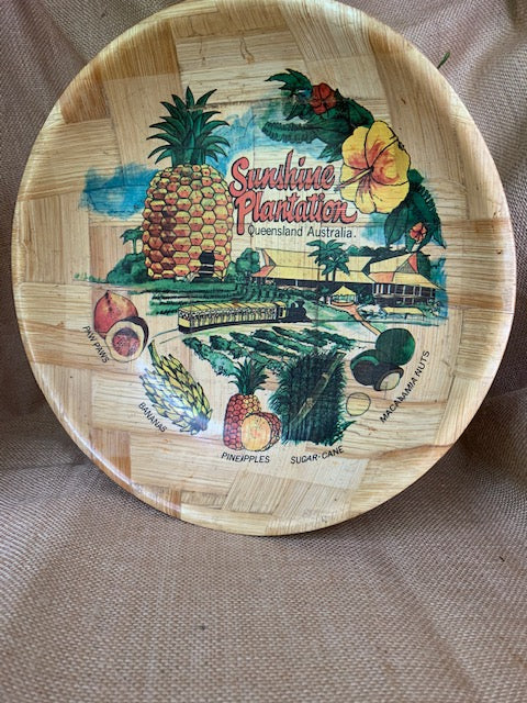 Vintage Bamboo Bowl with Retro Sunshine State Icons