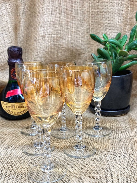 Vintage Mini Champagne Glasses Set of 6