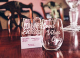 Personalized Pair of Etched Wine Glasses