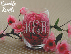 Monogram wine glass ~ Custom ~ Wine ~ Name ~ Special Occasion ~ Inspire ~ Stemless ~ Wine Glasses ~ Red Wine ~ White Wine ~ Wedding
