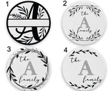 Custom Family Monogram Coasters - Set of 4