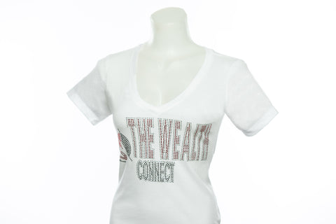 The Wealth Connect - White Rhinestone T Shirt
