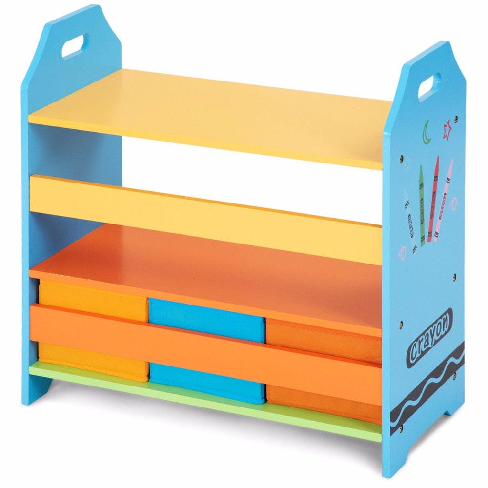 Remarkable Crayon Themed Bookshelf 2 Tiers Shelves Bookcase With 3 Storage Bins Colorful Home Furniture Home Interior And Landscaping Elinuenasavecom