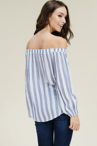 Blue and White Long Sleeve Off Shoulder