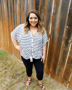 Plus Sized Button Down Striped Top