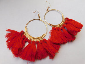 Gold Hoop Tassel Earrings