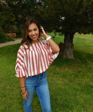 Red and White Large Striped Top