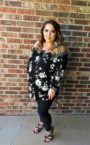 Plus Size Off The Shoulder Floral Print Top