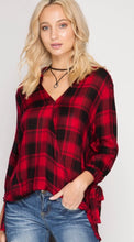 Red and Black Plaid Flannel Top