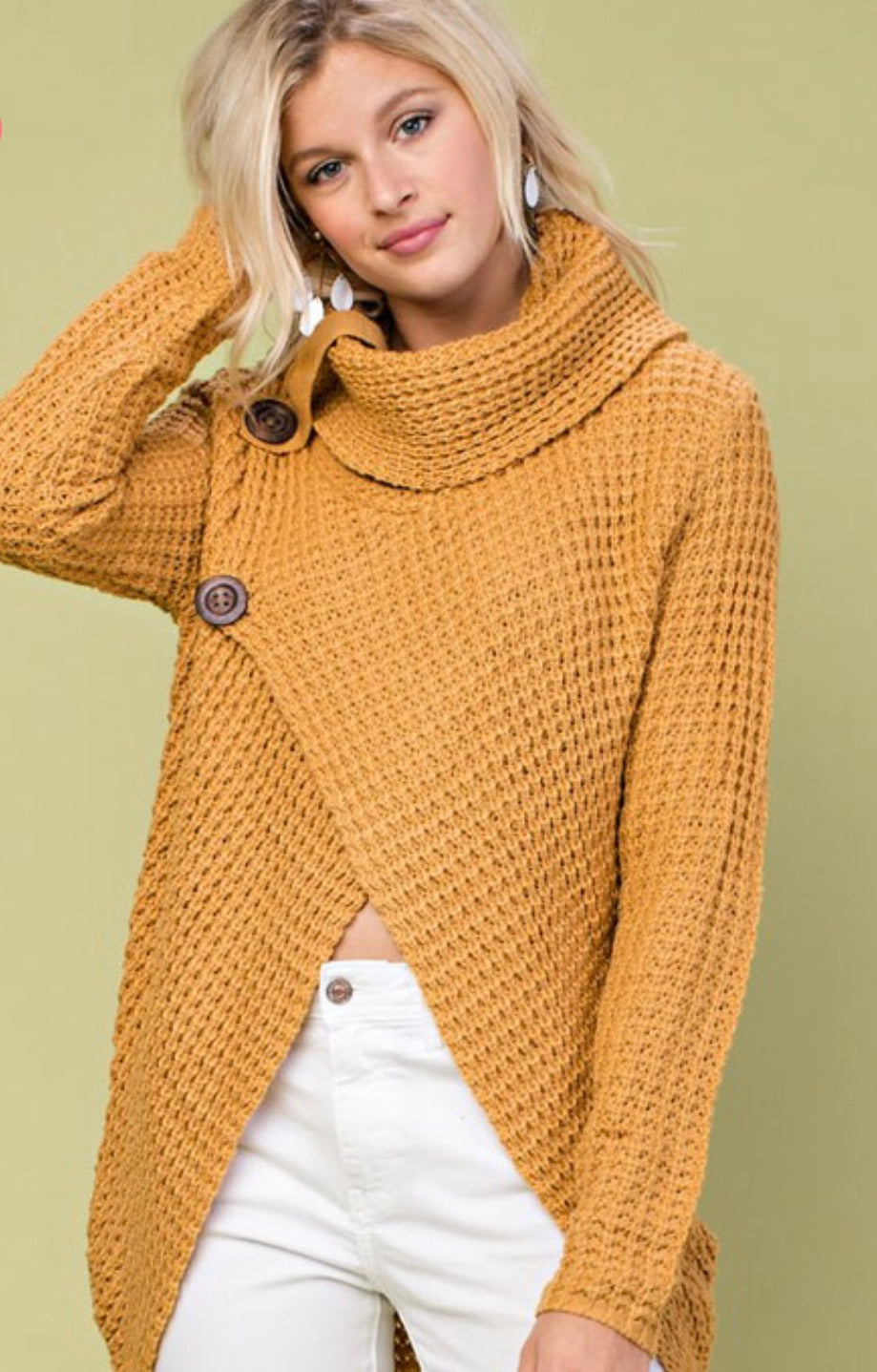 Camel Cowl Neck Sweater