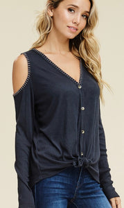 Charcoal Cold Shoulder Long Sleeve Top