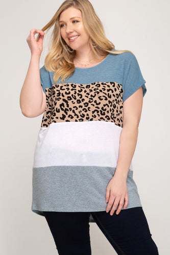 Plus Size Blue Leopard Top