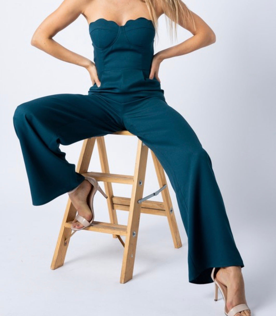 Hunter Green Wide Leg Jumpsuit