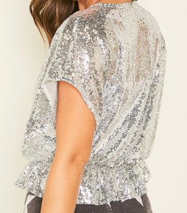 Silver Sequins Top