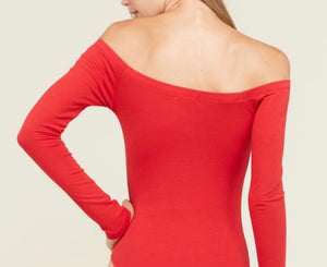 Red Off The Shoulder Bodysuit