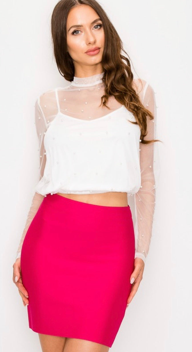 Ivory Pearl Sheer Crop Top
