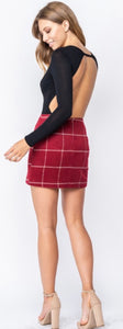 Wine Plaid Skirt