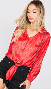 Red Satin Leopard Print Top