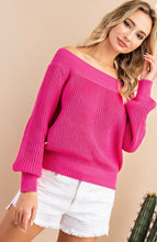 Hot Pink Off The Shoulder Sweater