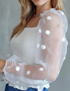 White Polka Dot Sleeve Top