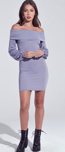 Lavender Off The Shoulder Bodycon Dress