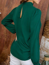 Hunter Green Mock Neck Blouse