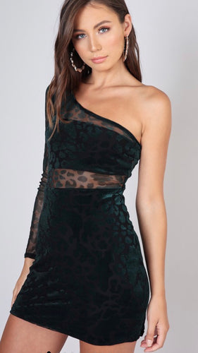 Hunter Green Mesh One Shoulder Mini Dress