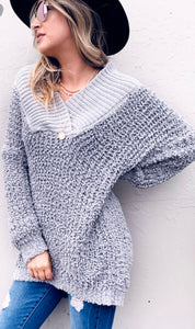 Grey Popcorn Loose Fit Tunic Sweater