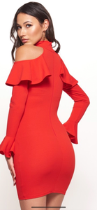 Red Cold Shoulder Ruffle Sleeve Dress
