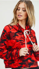 Red Camouflage Cowl Neck Top