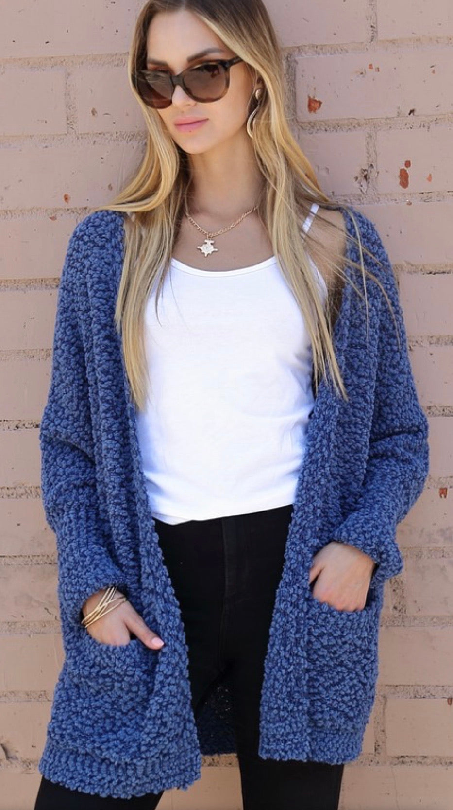 Dusty Blue Popcorn Cardigan