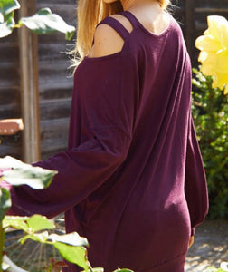Burgandy Criss Cross Top