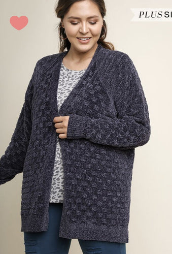 Plus Size Charcoal Chenille Cardigan