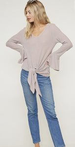 Thermal Knit Long Bell Sleeve Top