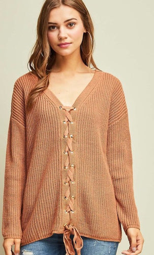 Desert Sand Lace Up Sweater