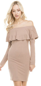 Taupe Ruffle Off The Shoulder Dress