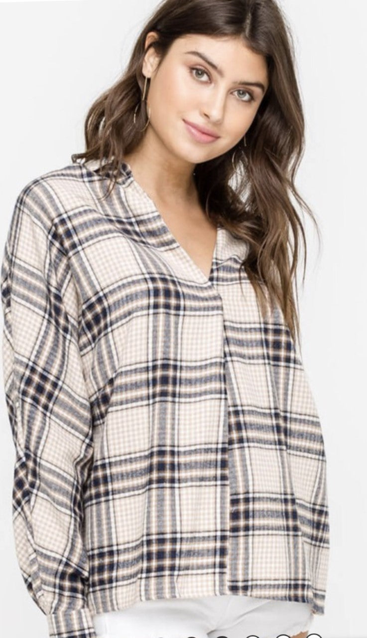 Taupe and Navy Plaid V-neck Shirt