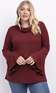 Plus Size Burgundy Bell Sleeve Top