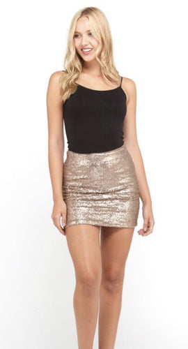 Metal Gold Sequins Skirt