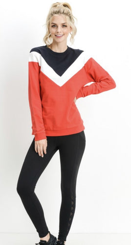 Chevron Panel Sweat Shirt