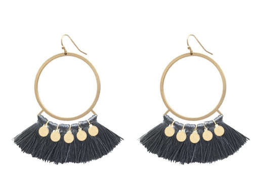 Dark Grey &Gold Hoop Tassel Earring