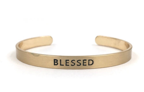 Gold Cuff Stamped Blessed Bracelet
