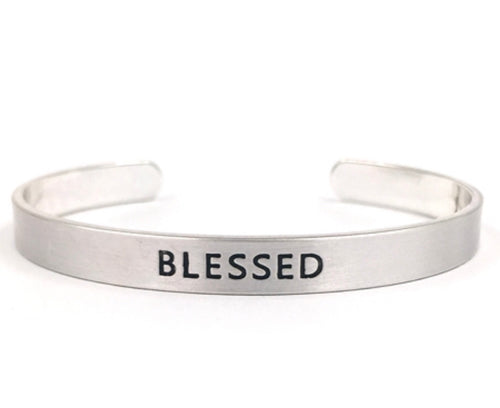 Silver Cuff Stamped Blessed Bracelet