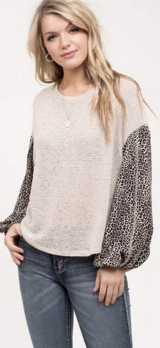Taupe Cheetah Sleeve Top