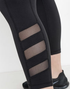 Plus Size Black Triple Mesh Leggings