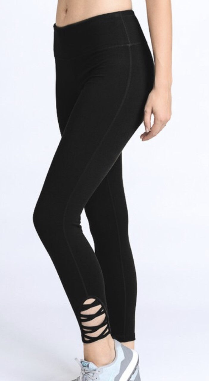Black Lattice Strap Leggings