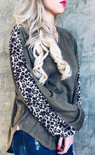 Olive Green Leopard Detail Top