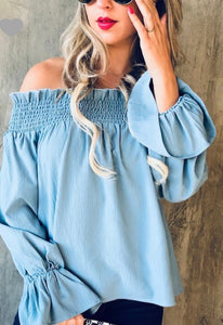 Baby Blue Off The Shoulder Smocking Bell Top
